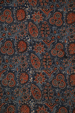 Indigo Leaves Ajrak Cotton Fabric-1m