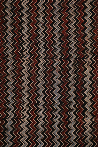 Black Zigzags Ajrak Block Printed Cotton Fabric