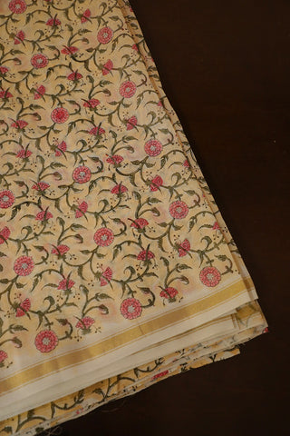 Beige with Peach Floral Zari Border Chanderi Silk Cotton Fabric