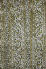 Grey with Green Floral Lines Mugal Block Printed Cotton Fabric-2.2 m