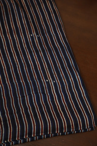 Brown Lines in Indigo Ajrak Modal Silk Fabric