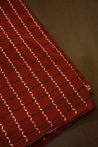Boxed Maroon Block Printed Cotton Fabric