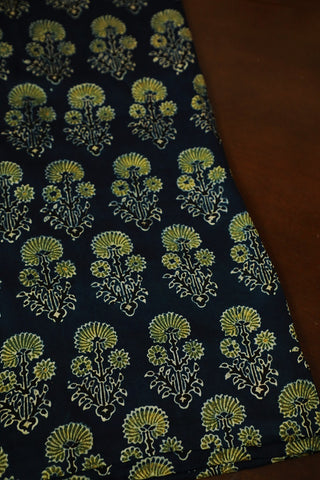 Pale Yellow Floral in Indigo Block Printed Modal Silk Fabric