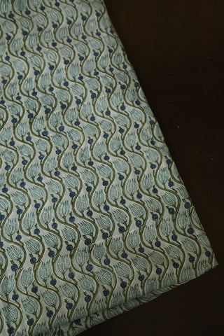 Greyish Blue Floral Block Printed Sanganeri Cotton Fabric