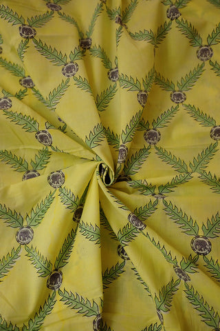 Light Yellow with Green leaf Block Printed Cotton Fabric