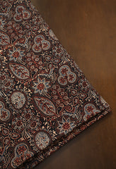 Black Leaves Ajrak Cotton Fabric