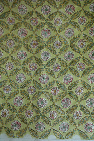 Leaf Checks Chanderi Silk Cotton Fabric