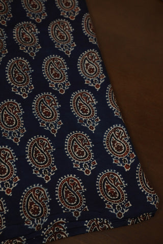 Rust Brown Paisley in Indigo Block Printed Modal Silk Fabric