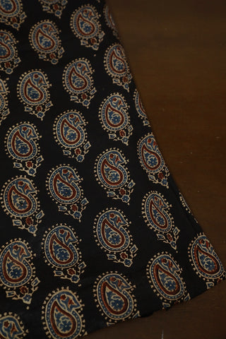 Black with Paisley Block Printed Modal Silk Fabric