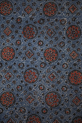 Indigo with Maroon Ajrak Cotton Fabric-1.1m