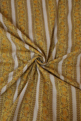 Yellow Floral Lines Block Printed Sanganeri Cotton Fabric