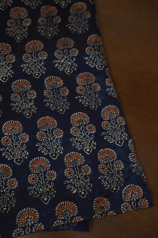 Indigo with Maroon Floral Block Printed Modal Silk Fabric