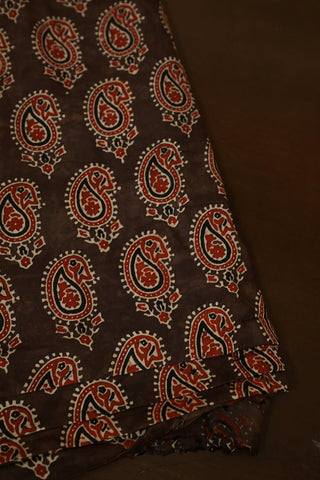 Maroon Paisley in Greyish Brown Block Printed Modal Silk Fabric