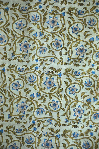 Greyish Green Small Floral Sanganeri Cotton Fabric