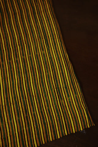 Yellow with Green Lines Block Printed Modal Silk Fabric