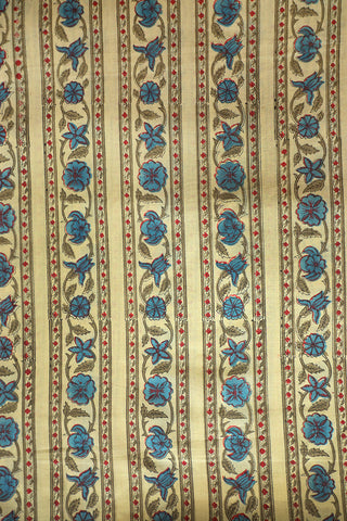 Blue Floral Lines Block Printed Sanganeri Cotton Fabric