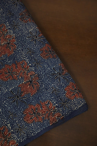 Indigo with Maroon Floral Ajrak Cotton Fabric