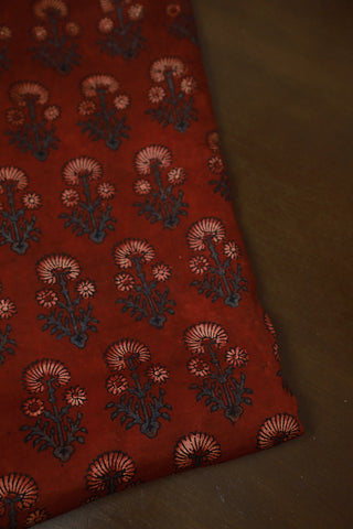 Maroon Block Printed Modal Silk Fabric
