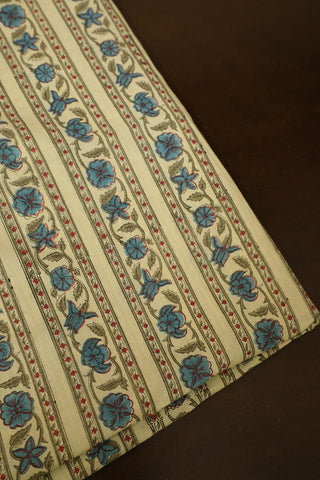 Indigo with Red Flower Block Printed Ajrak Fabric