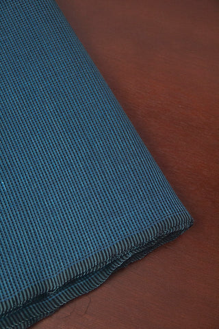 Blue with Black Fine Checks Handwoven Mangalagiri Cotton Fabric