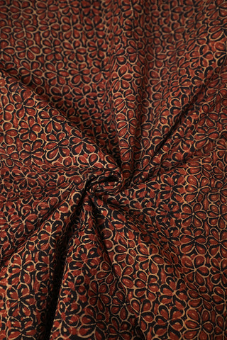 Black with Maroon Flower Ajrak Cotton Fabric