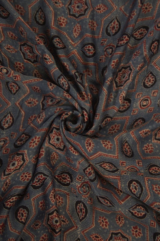 Greyish Indigo with Maroon Gajji Silk Ajrak Fabric