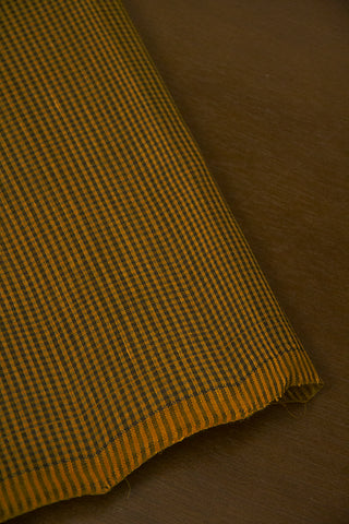 Subdued Yellow with Black Fine Checks Handwoven Mangalaigiri Cotton Fabric