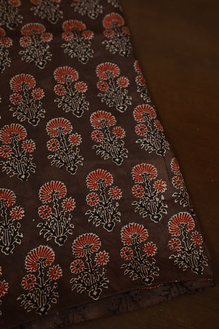 Maroon Floral in Greyish Brown Block Printed Modal Silk Fabric