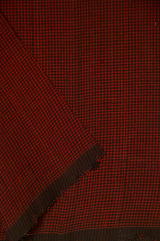 Maroon with Black Fine Checks Handwoven Mangalagiri Cotton Fabric