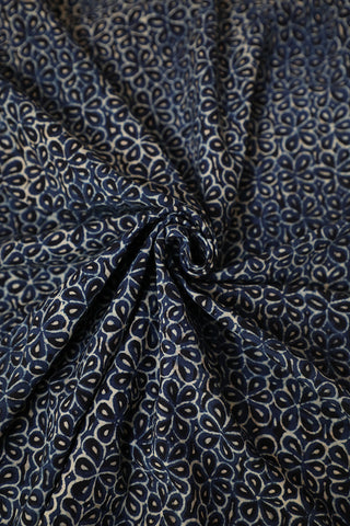 Indigo with Black Flower Block Printed Ajrak Cotton Fabric