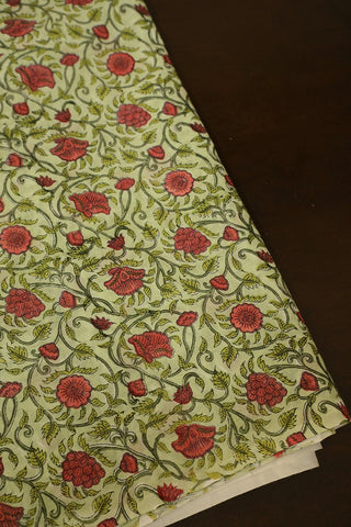 Green with Flower Floral Block Printed Sanganeri Cotton Fabric