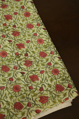 Green with Flower Floral Block Printed Sanganeri Cotton Fabric-1.6 m