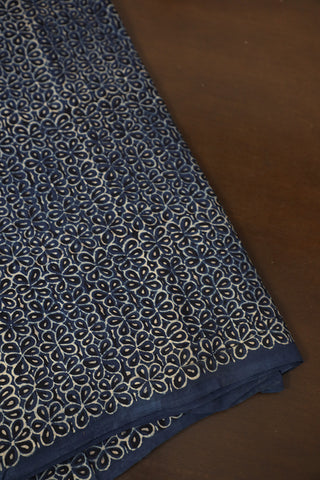 Indigo with Black Flower Block Printed Ajrak Cotton Fabric-1m