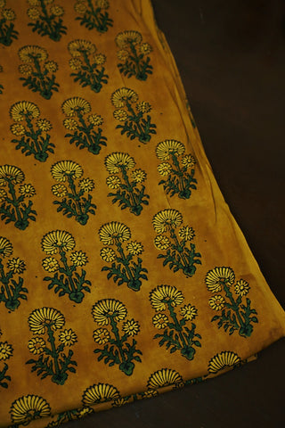 Yellow with Green Block Printed Modal Silk Fabric