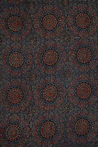 Indigo with Maroon Floral Block Printed Ajrak Fabric