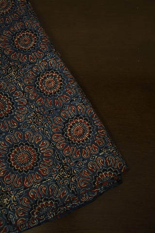 Indigo with Maroon Floral Block Printed Ajrak Fabric - 2m