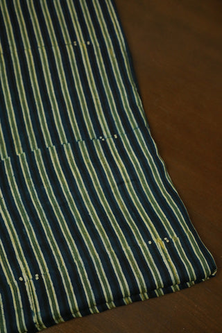 Yellowish Green with Indigo Lines Block Printed Modal Silk Fabric