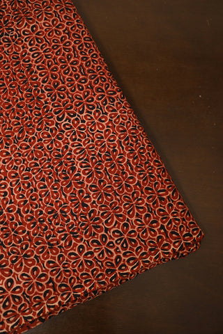 Maroon with Black Flower Block Printed Ajrak Cotton Fabric