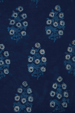 Indigo Floral Block Printed Cotton Fabric