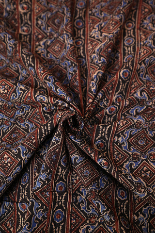 Maroon Lines in Black Ajrak Cotton Fabric