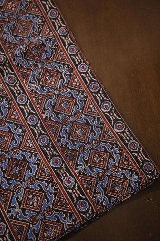 Maroon Lines in Black Ajrak Cotton Fabric-0.7m