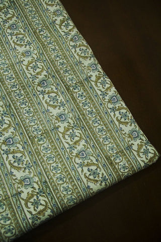 Faded Blue with Green Sanganeri Cotton Fabric