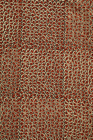 Rust Red Flower Block Printed Ajrak Cotton Fabric-1m