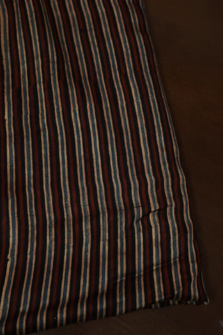 Black with Brown Lines Ajrak Modal Silk Fabric