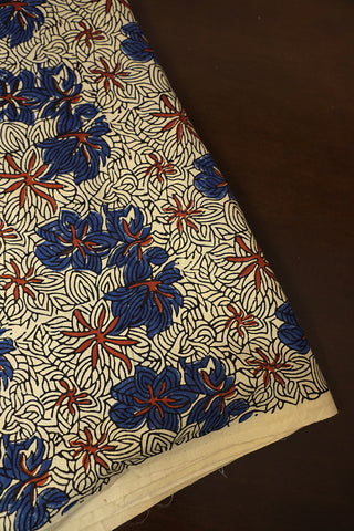 Off White with Indigo floral Ajrak Cotton Fabric