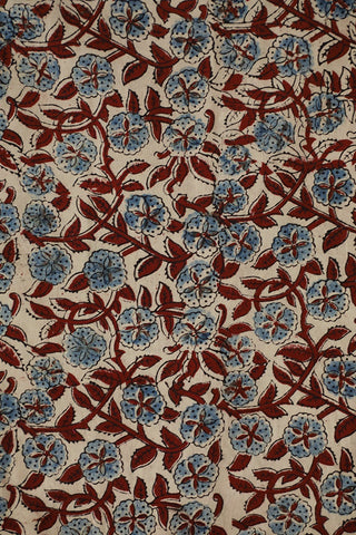 Beige with Indigo and Maroon Floral Ajrak Cotton Fabric