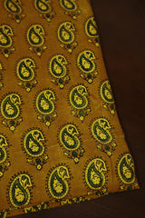 Paisley in Yellow Block Printed Modal Silk Fabric