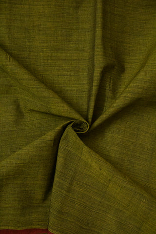 Subdued Green with Maroon Handwoven Mangalagiri Cotton Fabric