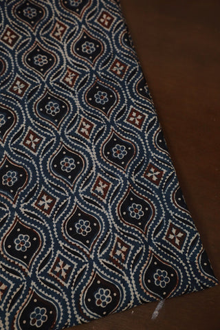 Indigo with Black and Maroon Ajrak Cotton Fabric