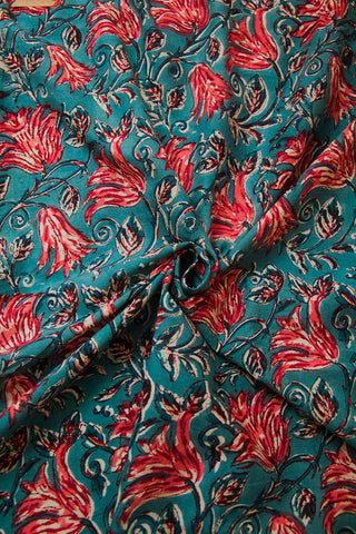 Subdued Blue with Peach Floral Sanganeri Block Printed Cotton Fabric - 0.5m